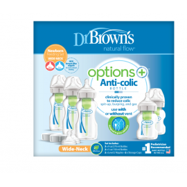 dr brown |  PP Wide-Neck Options  Newborn Feeding Set (2x150 ml& 3x270 ml bottles, 2x L2 nipples, 2 storage caps, 3 cleaning brushes)