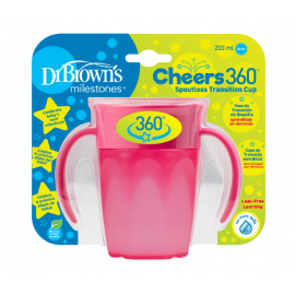 dr brown | Cheers 360 Cup with Handles, 7 oz/250 ml, Pink, 1-Pack