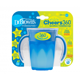 dr brown |  Cheers 360 Cup with Handles, 7 oz/250 ml, Blue, 1-Pack