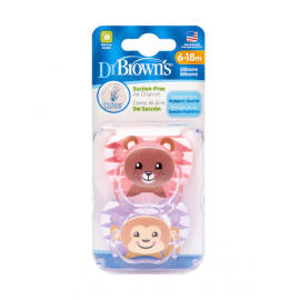 dr brown | PreVent PRINTED SHIELD Pacifier - Stage 2 * 6-12M - Girl Animal Faces (Bear& Monkey), 2-Pack