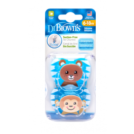 dr brown | PreVent PRINTED SHIELD Pacifier - Stage 2 * 6-12M - Boy Animal Faces (Bear& Monkey), 2-Pack