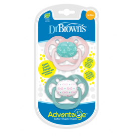 dr brown |  Advantage Pacifier - Stage 2, Pink, 2-Pack