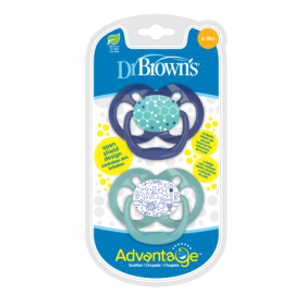dr brown | Advantage Pacifier - Stage 2, Blue, 2-Pack