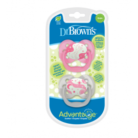 dr brown |  Advantage Pacifier - Stage 1, Glow in the Dark - Pink, 2-Pack