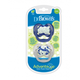 dr brown |  Advantage Pacifier - Stage 1, Glow in the Dark - Blue, 2-Pack