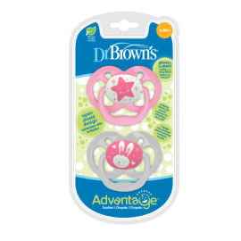 dr brown |  Advantage Pacifier - Stage 2, Glow in the Dark - Pink, 2-Pack
