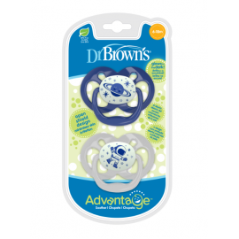 dr brown |  Advantage Pacifier - Stage 2, Glow in the Dark - Blue, 2-Pack