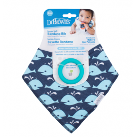 dr brown | Bandana Bib w/ Teether, 1-Pack, Whales (Blue with Turquoise Teether)