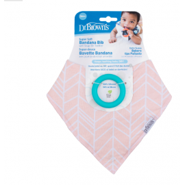 dr brown |  Bandana Bib w/ Teether, 1-Pack, Herringbone (Pink with Turquoise Teether)